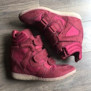 Merlot Red Heeled Sneakers